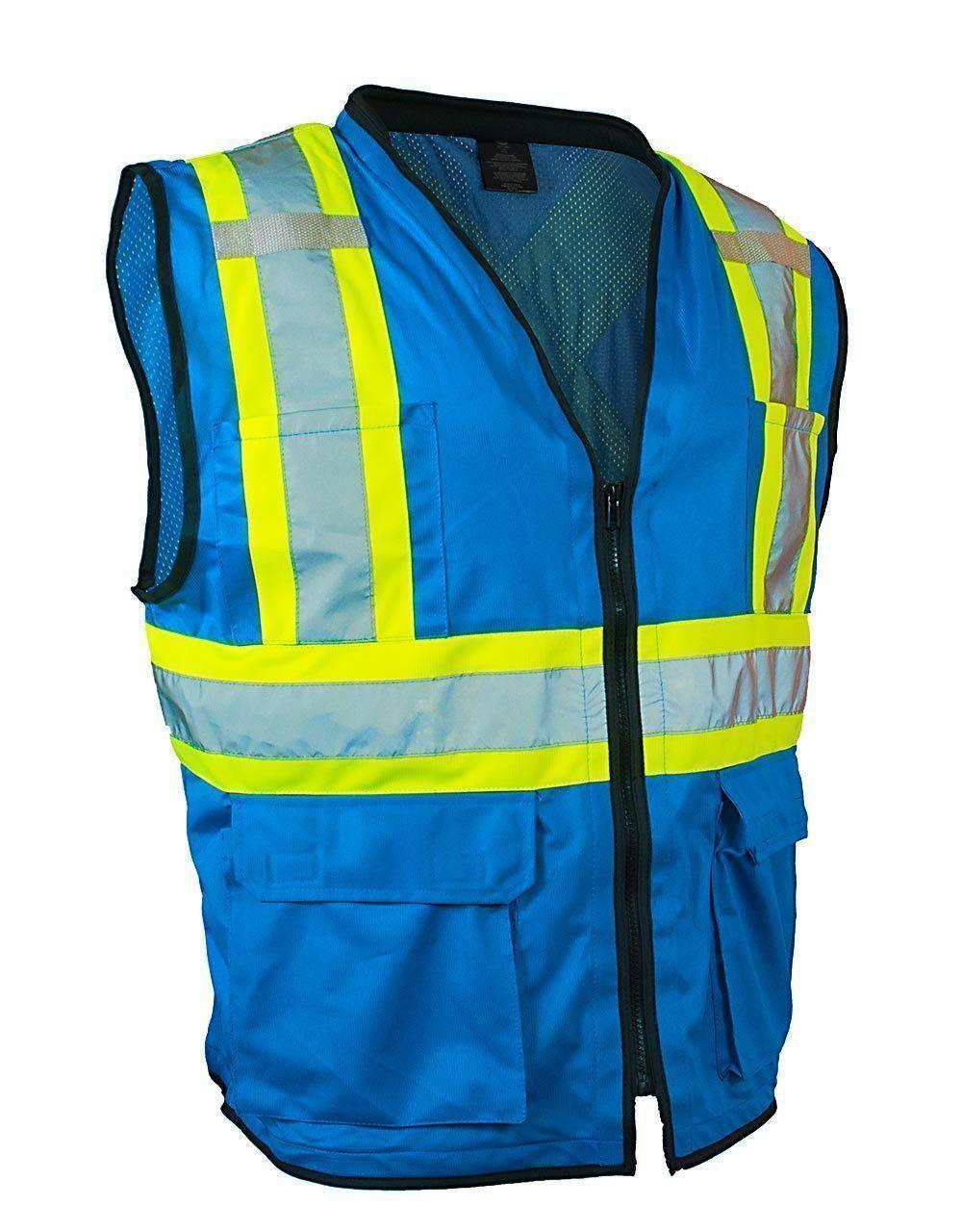 Safety Vest w/Zipper- Blue