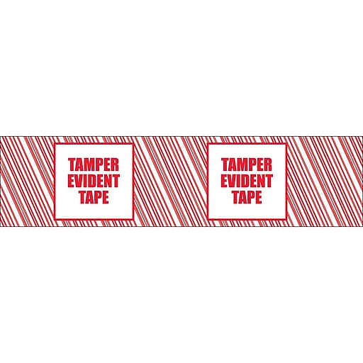 "Tamper Evident Tape, 2"" x 110 yards - Red on White"