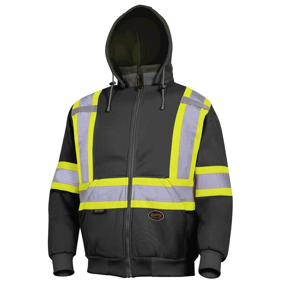 Pioneer Hi-Viz Black Polyester Fleece Hoodie V1060471 - 6925