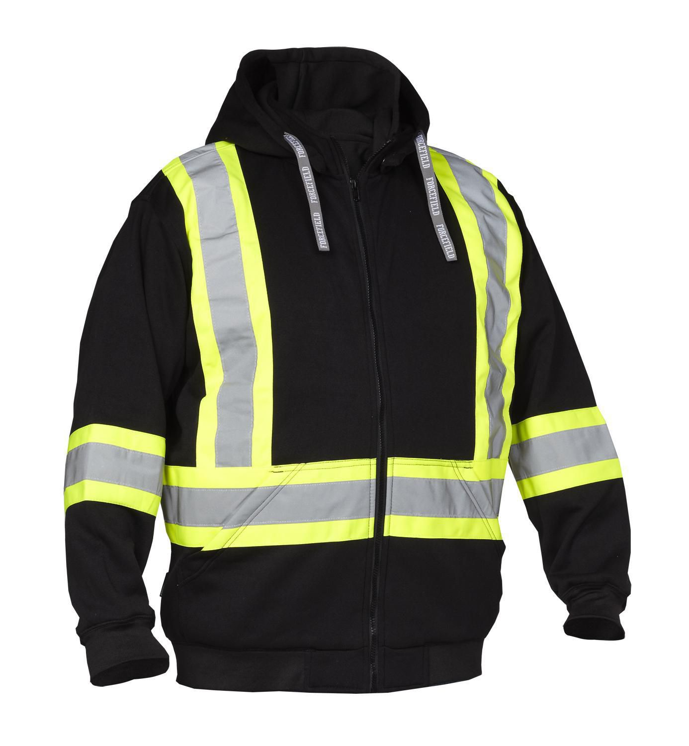 Forcefield Hi-Vis Safety Hoodie (Detachable Hood) 024-P814BK