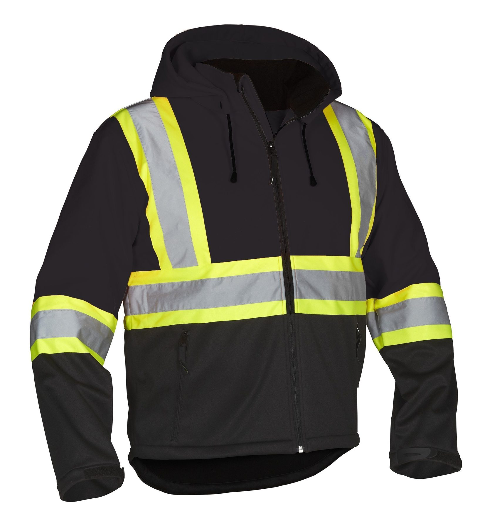 Forcefield Hi-Vis Safety Softshell w detach hood 023-EN148BK