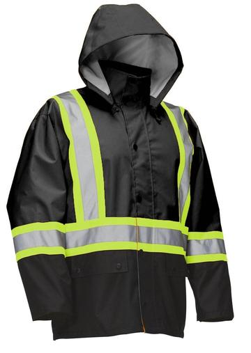 Forcefield Hi-Vis Safety Rain Jacket With Snap-off Hood